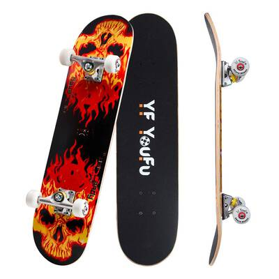 #4. YF YOUFU 31'' Pro Double Kick 7 Layer Canadian Maple Wood Concave Skateboard for Kids & Adults