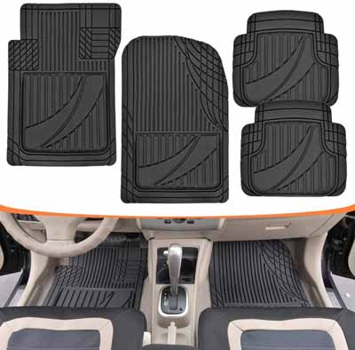 #9. Motor Trend MT-794-BK 4 Pcs HD Flex Tough Advanced All-Weather Mats (Black)