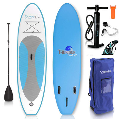 8- SereneLife Stand Up Paddle Board | Youth and Adult Standing Boat