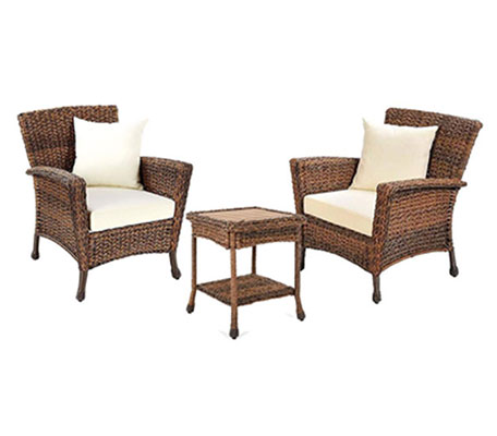 1. W Unlimited Rustic Collection Outdoor Furniture Light Brown Rattan Wicker Garden Patio Bistro Set