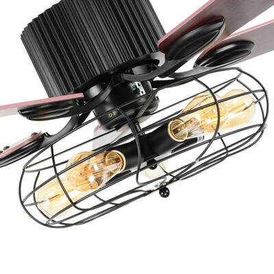 #3. Luxure Fan Retro 52'' Ceiling Fan with Light with 5 Reversible Wood Leaves & Remote Control