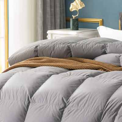 #1. Globon Fusion White 600 Fill Power Hypoallergenic Heavy Weight Comforter King Size (Grey)