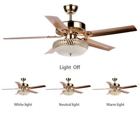 #1. Tropicalfan 5 Reversible Blades Glass Light Cover Decoration Quiet Fans Chandelier (Rose Gold)