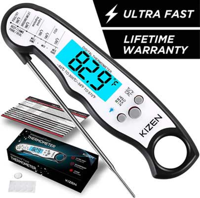#6. Kizen Waterproof Ultra-Fast Instant Read Meat Thermometer with Calibration & Backlight