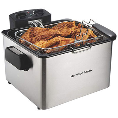 #2. Hamilton Beach Stainless Steel Electric Deep Fryer