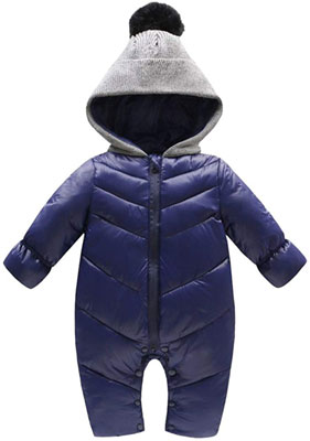 #6. Genda 2Archer Unisex Winter Baby hooded Jumpsuit Snowsuit Coat Romper