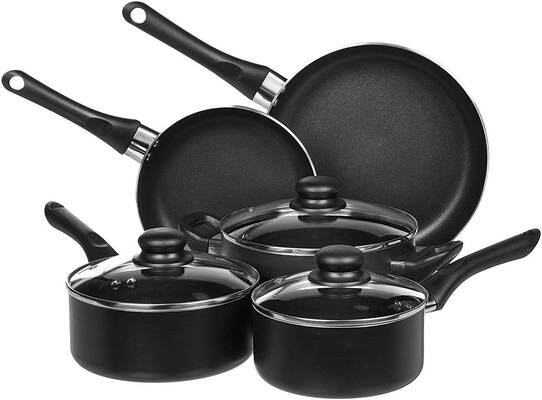 #10. AmazonBasics Non-Stick 8-Pieces Oven and Dishwasher Safe Cookware Set