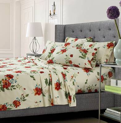 #9. Tribeca Living Printed 6-Piece Bed Sheet Set, Floral Multi