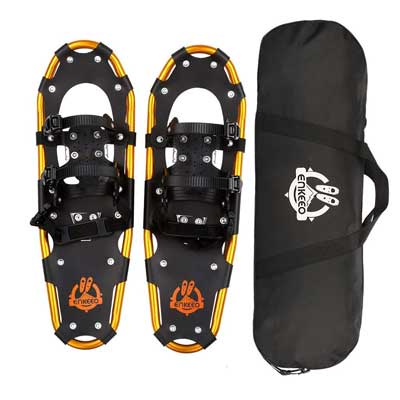 #9. ENKEEO Lightweight Aluminum All-Terrain Adjustable Ratchet Bindings Snow Shoes