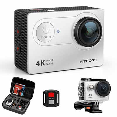 10. FITFORT 4K 16MP Action Camera- Waterproof Sports Camera with 2Pcs Batteries, Black