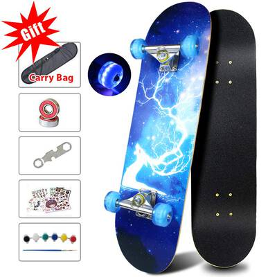 #2. Sangde Easy-way Colorful Flashing Wheels Canadian Maple Cruiser skateboard Longboard for Kids