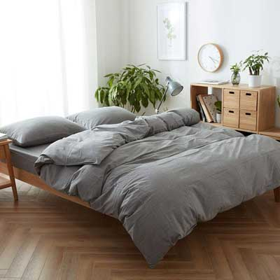 #7. FACE TWO FACE 3Pcs Ultra-Soft Simple Style Queen 100% Washed Cotton Bedding Set (Gray)