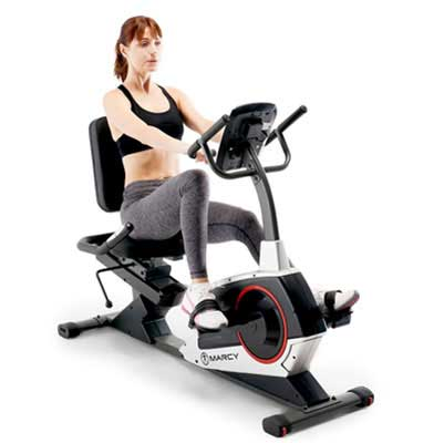5. Marcy Regenerating Recumbent Bike with an Adjustable Seat and Pulse Monitor