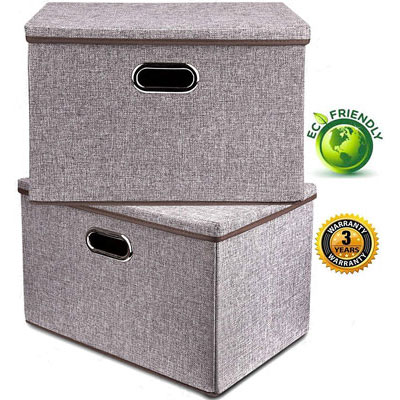 #4. Base shop Linen Fabric 2 Pack Gray Storage Container