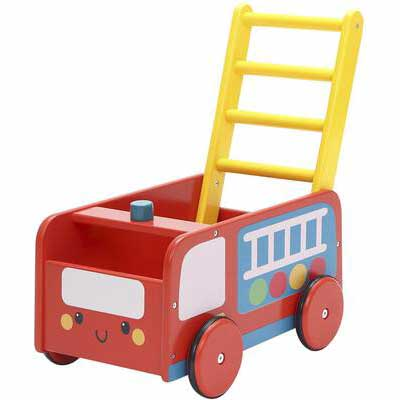 #4. labebe - 4 Wheels Baby Walker - Red Fire Truck