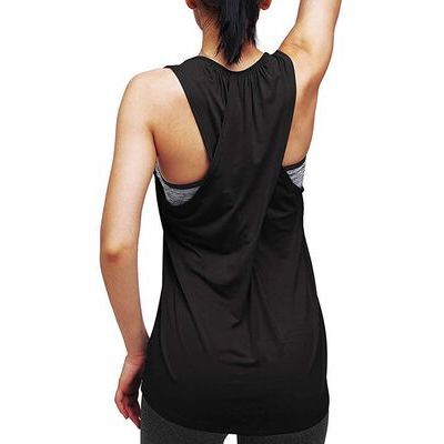 4. Mippo Black Running Tank Workout Tops for Women with Round Neck Style