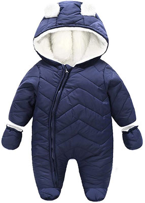 #5. Ding-dong Baby Girl Boy Hooded Puffer Winter Snowsuit Jacket with Gloves