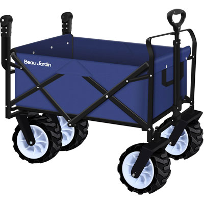 6. BEAU JARDIN Folding Wagon - Collapsible Utility Grocery Canvas with Heavy Duty Wheels