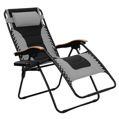 4. PHI VILLA Oversize Zero Gravity Chair with Cup Holder, Grey