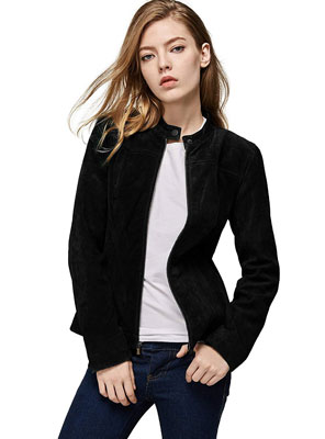 3. Escalier Women's Leather Jacket - Moto Biker Coat