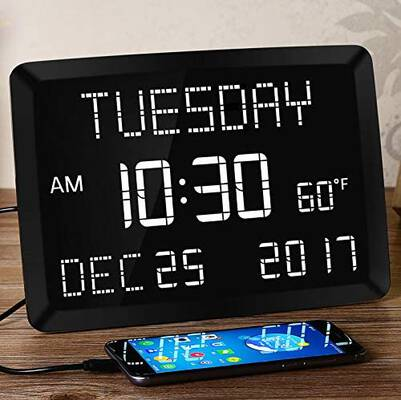 #5. Mesqool 11.5 Inch Digital LED Impaired Vision Desk Large Alarm Clock for Bedroom