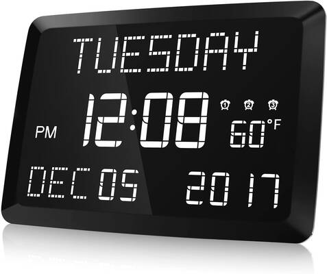 #8. Raynic Large LED Word Display Dimmable 11.5 Inch Digital Clock for Home Office