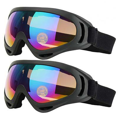 10. COOLOO Wind Resistance Ski Goggles for Boys and Girls, Pack of 2