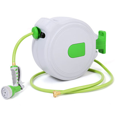 2. Goplus Retractable and Wall Mounted Hose Reel (65')