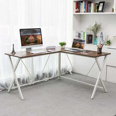 3. VASAGLE L-Shaped Computer Desk, Corner Office Writing Desk