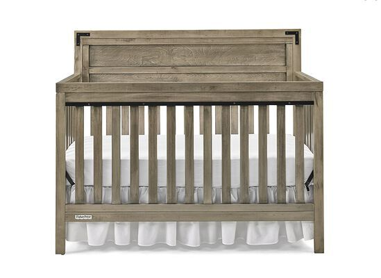 10. Fisher-Price Vintage Grey Wooden Convertible Crib with Farmhouse Styling