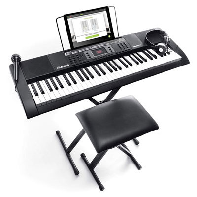 5. Alesis Melody 61-Key Portable Keyboard - Built-In Speakers, Microphone, and Stool