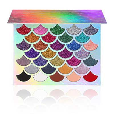 5. Cleof Original Mermaid Glitter Palette - Cruelty-Free with 32 Colors, Waterproof and Long-Lasting