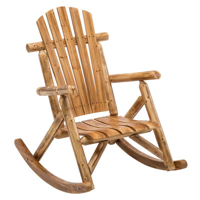 5. Antique Wood Outdoor Rocking Log Chair