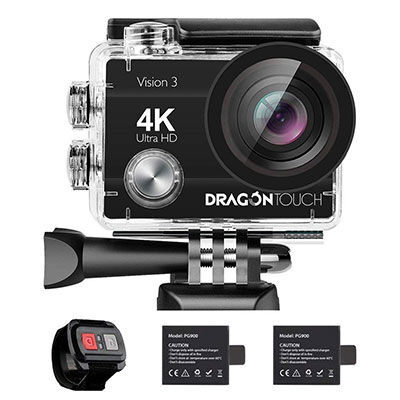 7. Dragon Touch 4K 16MP Waterproof Action Camera with Mounting Accessories Kit