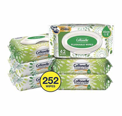 #6. Cottonelle GentlePlus 6 Packs 252 Count Flushable Baby Wet Wipes with Aloe & Vitamin E