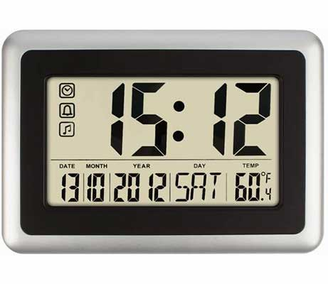#10. HIPPIH Oversized Electronic Full Digital Calendar Wall Clocks W/Extra Large Digits
