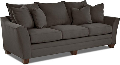 #5. Klaussner Home Furnishings Sofa with Four Throw Pillows, Pewter