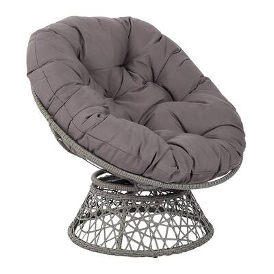 #4. OSP Design Papasan Woven Button Tufted Steel Frame Polypropylene Wicker Reading Chair (Grey)