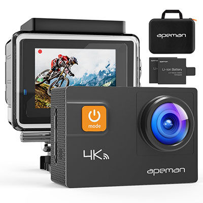 5. APEMAN Action Camera, Waterproof Design with 2 Upgraded Batteries and a Portable Carrying Bag
