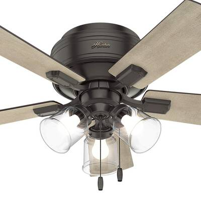 #6. Hunter Indoor Crestfield 42'' Low Profile Nobel Bronze 52153 Ceiling Fan with Light