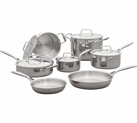 #5. Stone and Beam Tri-Ply 12-Piece Stainless Steel Cookware Set