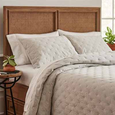 #4. Stone & Beam Soft and Easy Care Jersey X-Stitch King Cotton Coverlet Set (Grey)