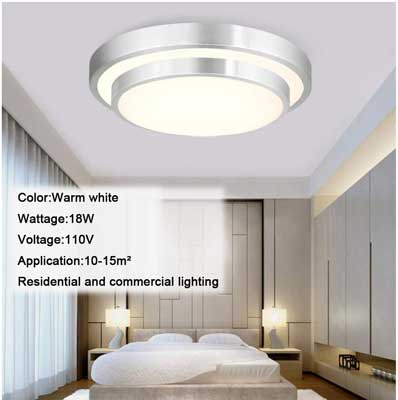 #10. AFSEMOS 18W 300K Warm White Indoor Flush Mount Ceiling Lamp for Bedroom Bathroom Kitchen