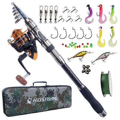 8. AGOOL Fishing Rod & Reel Combo for Saltwater and Freshwater Fishing