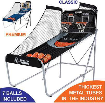 #2. Rally &Roar Shootout Basketball Arcade Game Home Dual Shot 8-Option for Basement & Room
