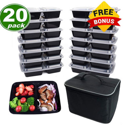 9. Cuisine Wonders Meal Prep Containers with Bonus Lunch Bag