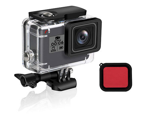8. FINEST+ Waterproof Shell for GoPro with Red Filter &Bracket Accessories
