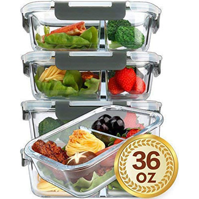 #4. Mcirco-Double Compartment Glass Food Storage Containers