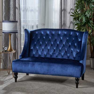 #10. Christopher Knight Home Loveseat Sofa, Navy Blue and Dark Brown