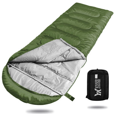 9. WINNER OUTFITTERS Sleeping Bag - Ideal for Adults and kids alike